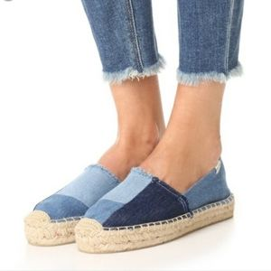 Soludos Chambray Denim Patchwork Espadrille Shoes